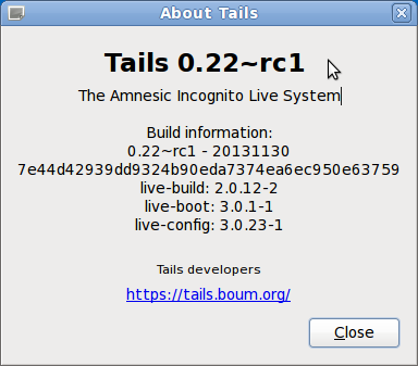 Screenshot of Tails About box, Ctrl + Alt + PrtSc