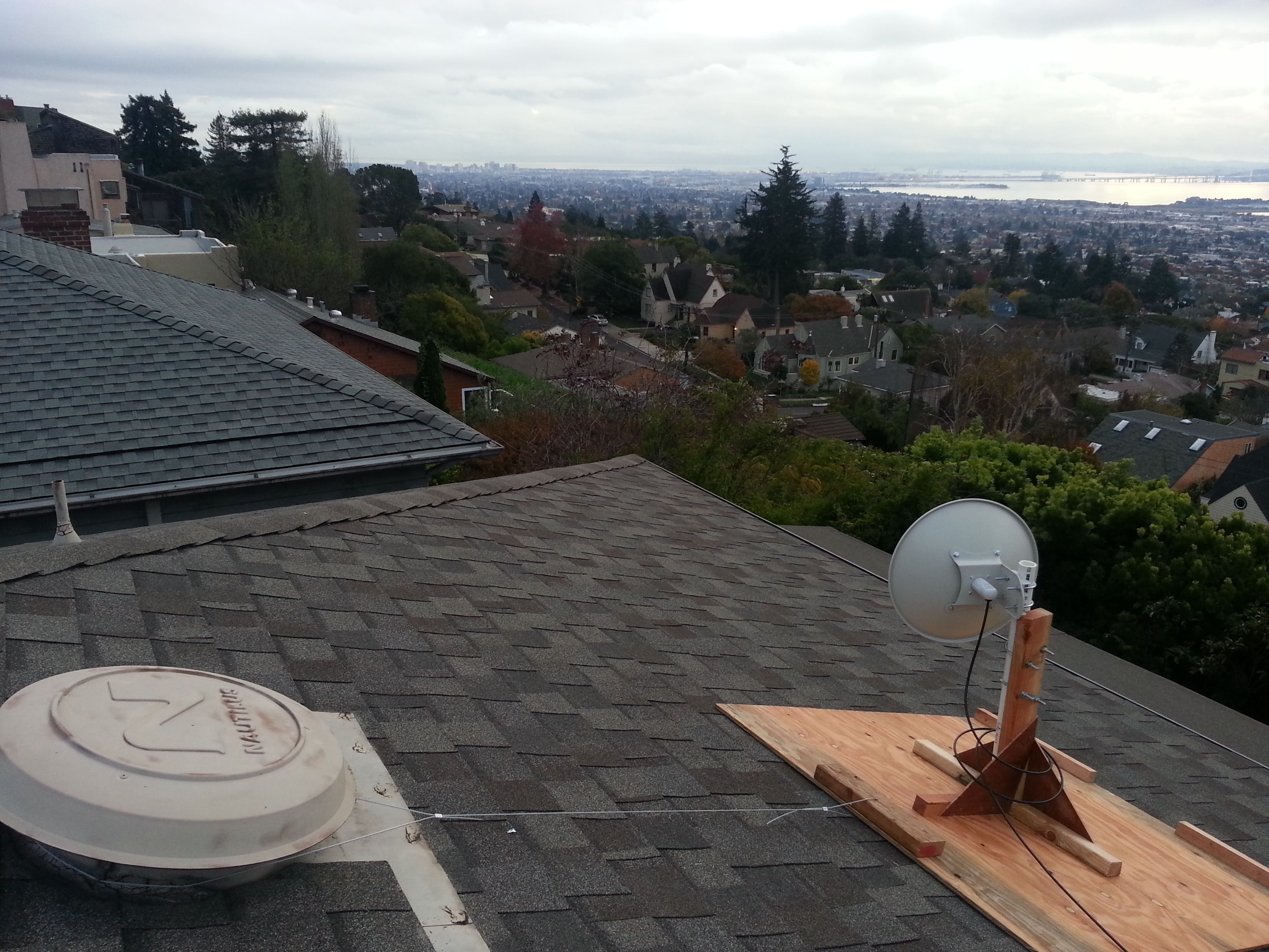 Sudomesh dish mount showing the cable attached to attic vent. & Rooftop Dish Antenna Mount - Sudo Room