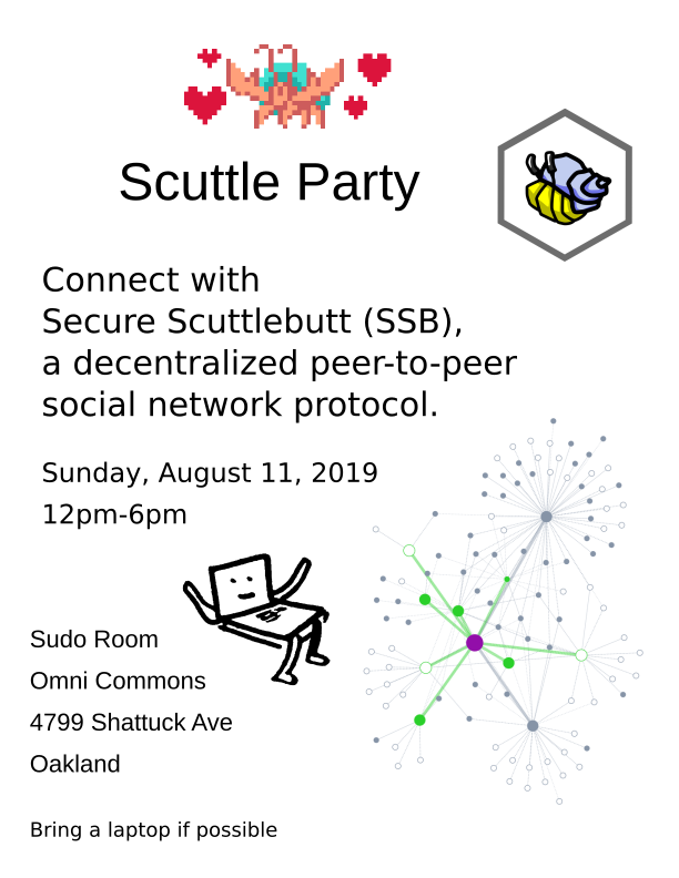 Scuttle Party! Connect with Secure Scuttlebutt (SSB), a decentralized peer-to-peer social network protocol. Sunday, August 11, 2019, 12pm-6pm. Sudo Room, Omni COmmons, 4799 Shattuck Ave, Oakland. Pixel art picture of Scuttlebutt mascot Hermies, with hearts. Hermies in Hexagon icon, standing for the Secure Scuttlebutt Consortium. Hand-drawn figure of anthropomorphized laptop. Diagram of a social network graph.